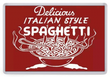 Delicious Italian Style Pasta Fridge Magnet. Retro Diner Sign. Americana